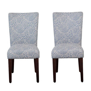 HomePop Navy/Cream Wood Modern Floral Parson Chairs (Set of 2)