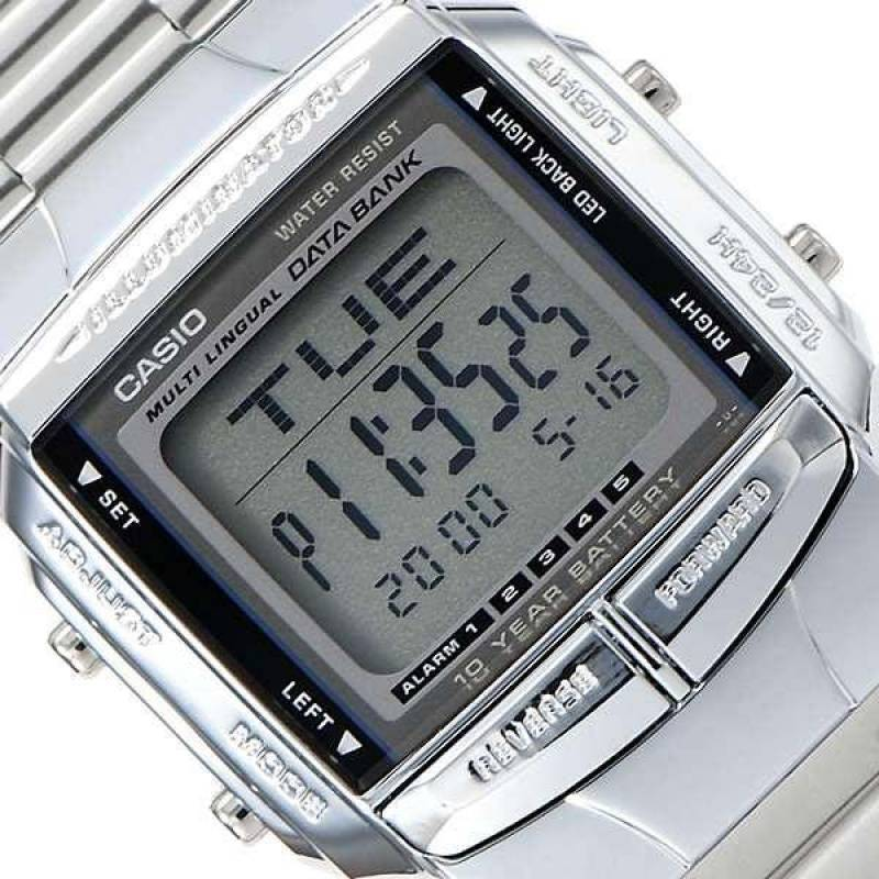 Casio Mens Digital Data Bank SILVER Plated Steel Casio Db  zeHwj