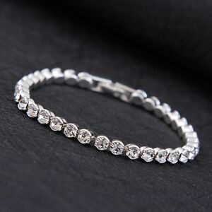 Silver plated MADE WITH SWAROVSKI CRYSTALS Tennis bracelet MOTHERS DAY GIFT