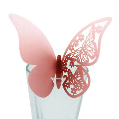 10-50pc Hollow Butterfly Wine Glass Cup Paper Cards Wedding Party Drink Cup Deco