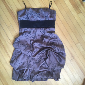 Brown strapless flower dress, Size S LeChateau $20 OBO