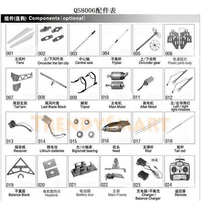 R/C Toy Remote Radio Control GT.QS 8006 3CH Helicopter Accessories Spare Parts