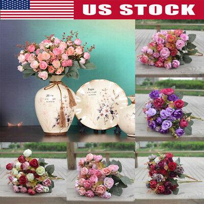42-Head Artificial Rose Bouquet Silk Fake Flowers Wedding Pa