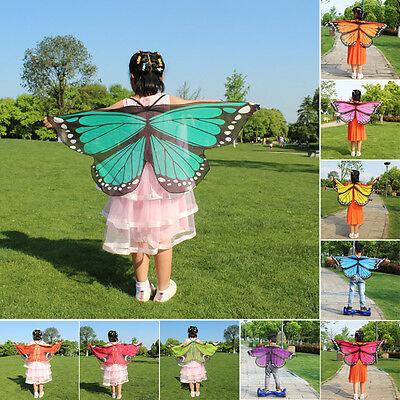 10 Stil Kinder Schmetterling Flügel Schal Kap Fee Nymphe Party Kostüm - Nymphe Kostüm Kinder