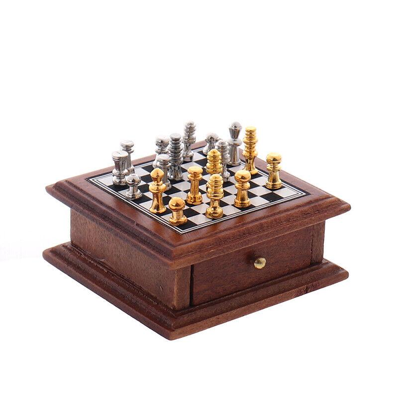Buy Best 1:12 Dollhouse Miniature Chess Board Storage Box Set Furniture Accessories-