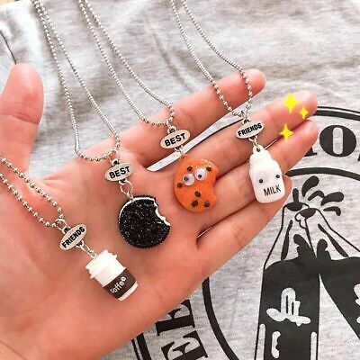 2PC Best Friend Cookie And Milk Witness Food Pendant Necklace Friendship Charm