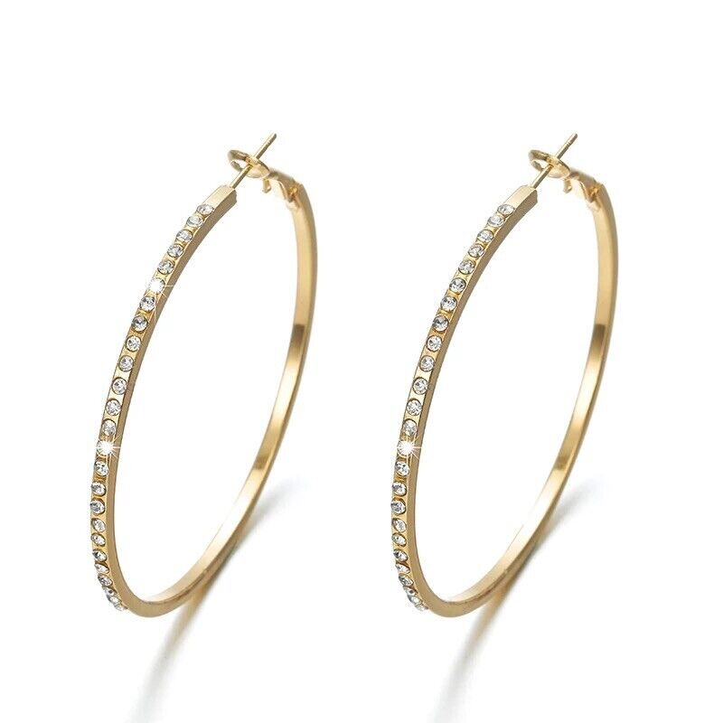 Cubic Zirconia CZ Large Big Hoop Earrings Silver or Gold Plated 2.2 Inch E49 Earrings