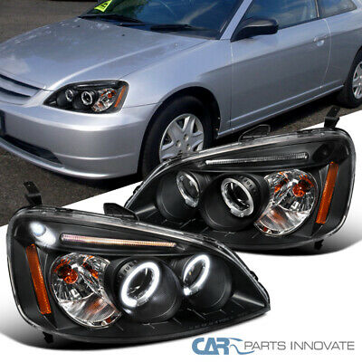 For Honda 01-03 Civic 2/4Dr Black LED Halo Projector Headlights Head Lamps -