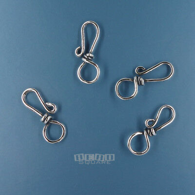 4 PC Antiqued Solid Sterling Silver Fish Hook Clasp Connector 20mm Soft -