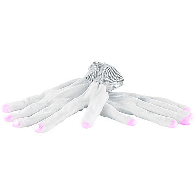 infactory Weiße LED-Disko-Handschuhe mit 6 Leuchtprogrammen, Größe S