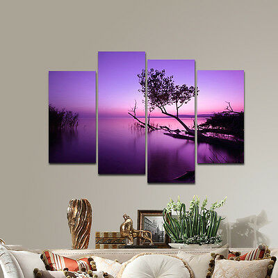 Canvas Print Painting Pic Home Decor Wall Art Purple Tree Lake Landscape Framed