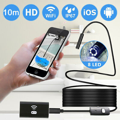 Rigid Cable Wifi Box Endoscope Borescope Inespection Hd Camera 6 Led Waterproof