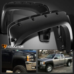 2007-2013 Chevy Silverado 1500 2500HD/3500HD Black Pocket Rivet Fender Flares
