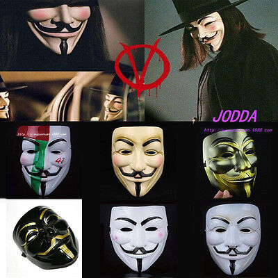 Hot V for Vendetta Anonymous Film Guy Fawkes Face Mask Fancy Halloween Cosplay - Hot Halloween Guys
