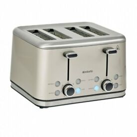 Brabantia 4 Slice Toaster Brushed Stainless Steel Almond LED Lights (BRAND NEW)