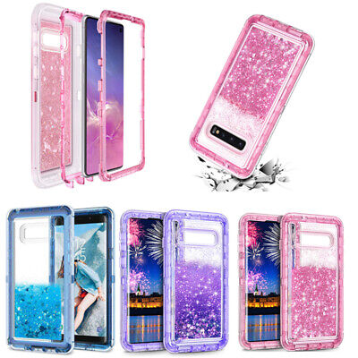 For Samsung Galaxy S10/S10 Plus J3 J7 ShockProof Bling Glitter Liquid Case Cover