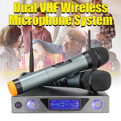 Pro VHF Wireless Microphone System 2 Channel Dual Handheld Mic KTV Party