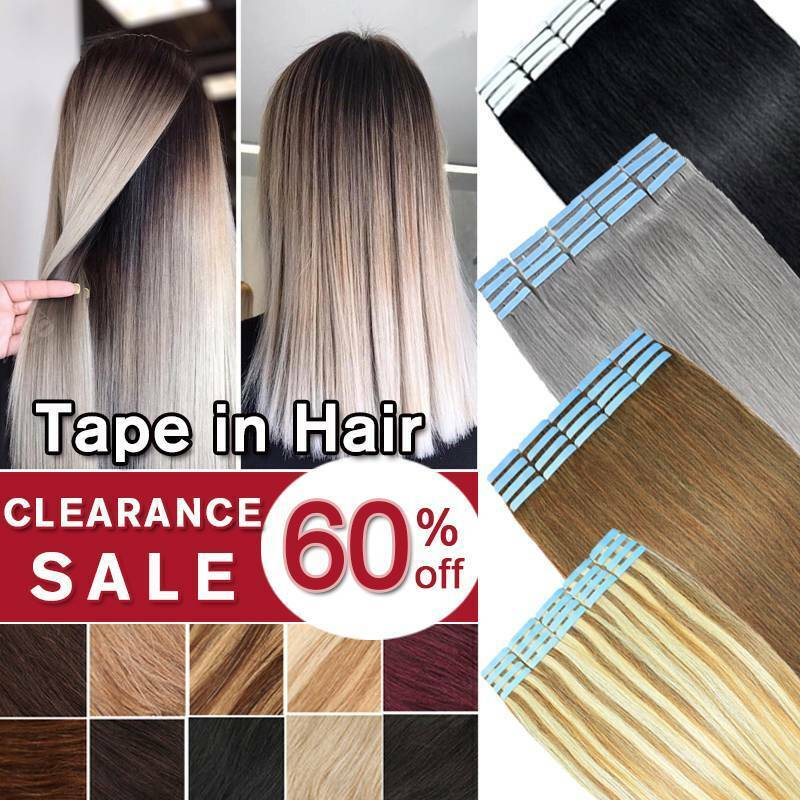 100% Remy Tape in Human Hair Extensions  Full Head Skin Weft