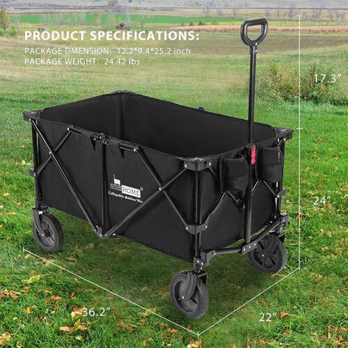 176lbs Garden Cart Collapsible Heavy Duty Utility Wagon w/ 2 Drink Holders Wheel