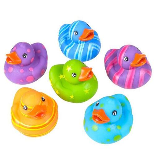 "Dozen 2"" Multicolored Pattern Rubber Duckies Favor Party Gift Bag Fillers Ducks"