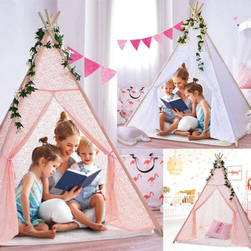 New Kids Teepee Wigwam Childrens Play Tent Childs Out or Indoor Toy Canvas Large