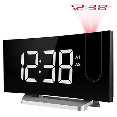 5 Large Display Digital Projection Clock FM Radio Alarm Clock USB Charging Port