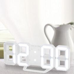 LED USB Digital 3D Wall Desk Alarm Clock White Snooze 12/24 H Display Memory
