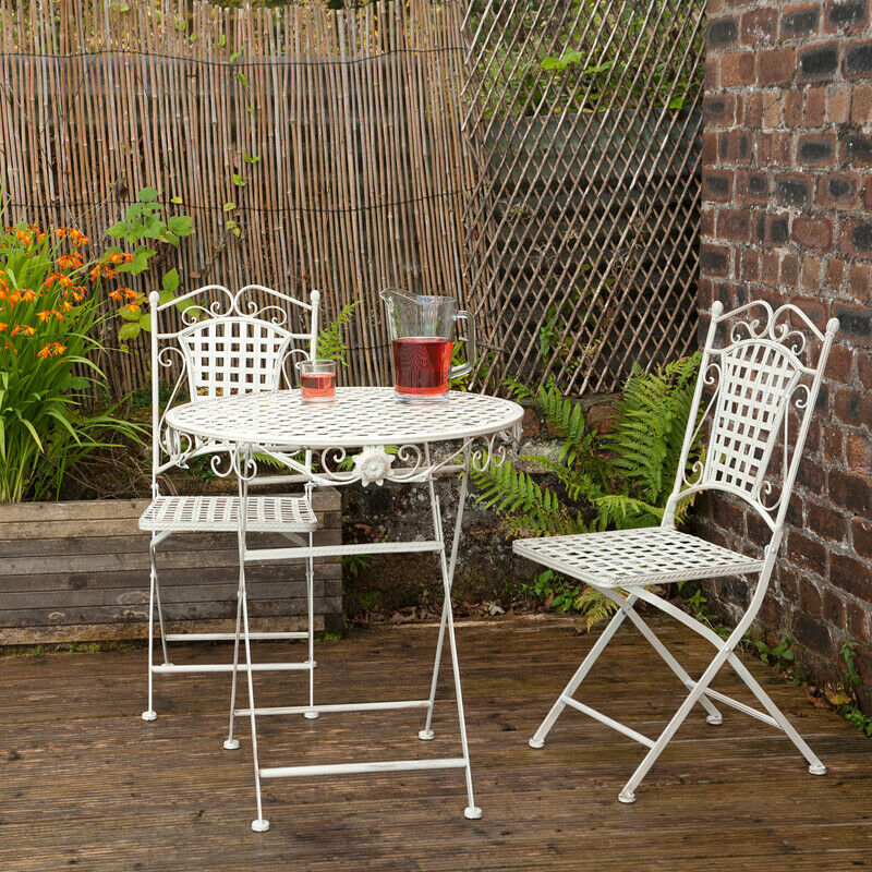 Garden Furniture - Metal Garden Bistro Set Patio Furniture Foldable Outside Table Chairs 3 Piece