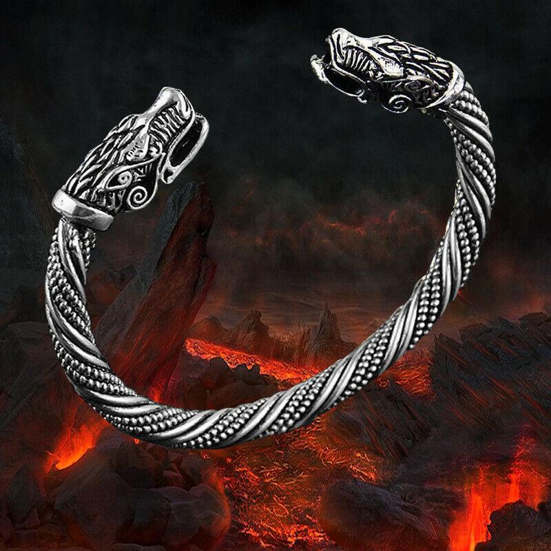 VIKING ARMBAND WOLF FENRIS Armreif Wikinger Vikings Folkloreschmuck SILBER&GOLD