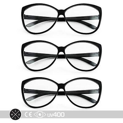 Lof of 3 Black 50s Cat Eye Cateye Shaped Clear Sunglasses Glasses S008