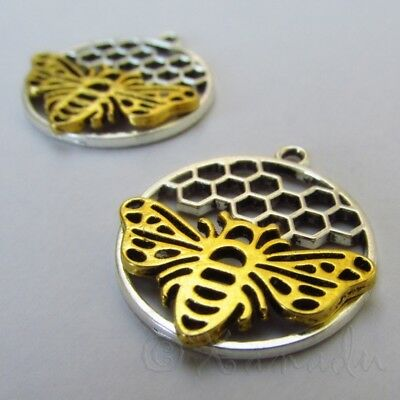 Honey Bee Honeycomb 29mm Wholesale Gold Plated Pendants C3669 - 2, 5 Or 10PCs
