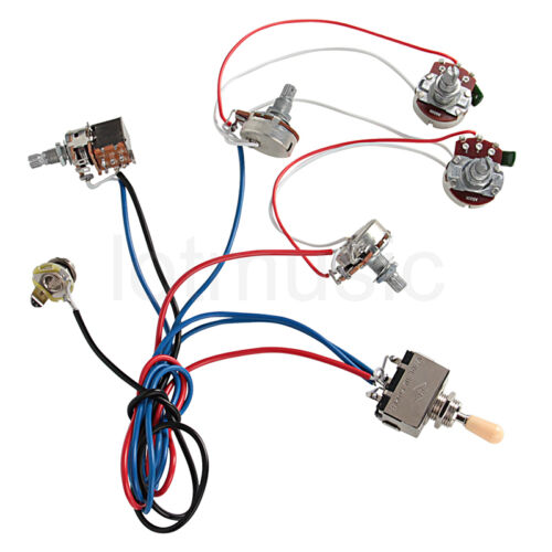 electric guitar wiring harness kit 2v2t pot jack 3 way switch for this prewired wiring harness set two volume two tones three way switch and a input jack is designed for gibson and lp style guitars description