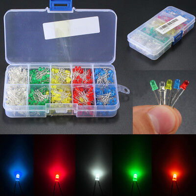 500pcs 3mm5mm Led Light Whiteyellowredbluegreen Assortment Diodes Kit Diy
