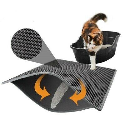 USA Double-Layer Cat Litter Box Mat Trapper Foldable Pad Pet Rug EVA Foam Rubber ()