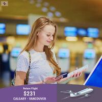 Book your Return flight Calgary - Vancouver $231