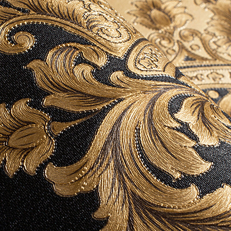 Luxury Gold Vinyl Damask Wallpaper Roll Metallic Texture