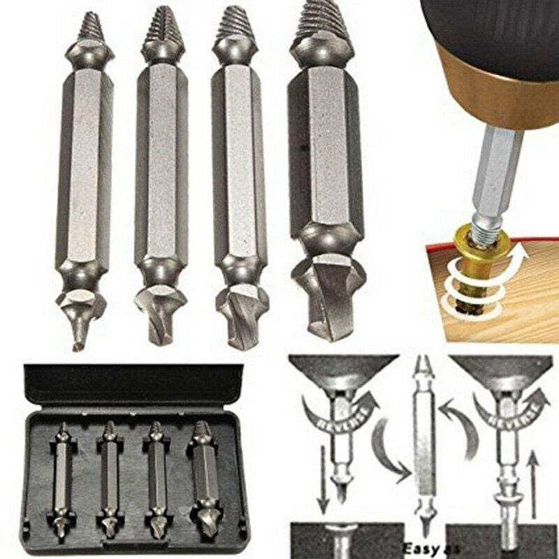 4pcs screw extractor drill bits guide set