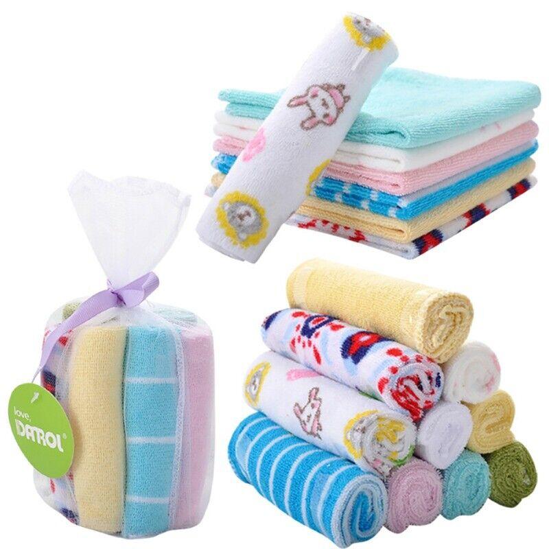 10pcs Baby Newborn Gauze Muslin Square 100% Cotton Boy Girl Bath Wash Towel Soft