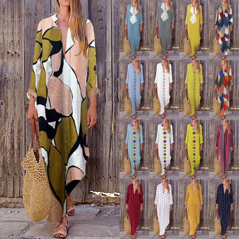ZANZEA Women Long Maxi Dress Floral Print Split Hem Long Sle