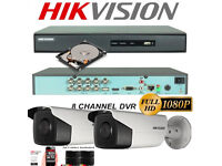 Hikvision CCTV Security Camera Kit, 8 Ch 1080p DVR, Hard Drive, Full HD 2MP Cameras, Cables, Boxed