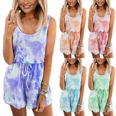 Women Tie Dye Mini Overalls Playsuit Summer Casual Jumpsuit Size 8 12 16 18 20
