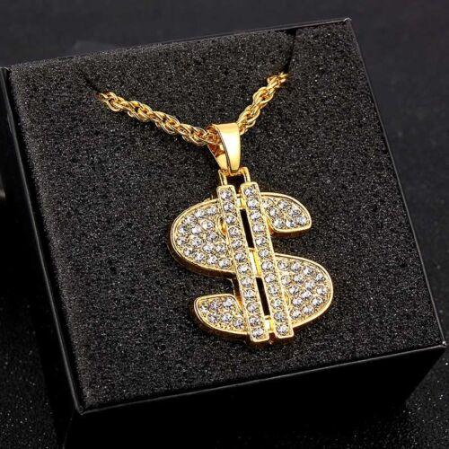 1Pc Gold Plated Men Rhinestone Dollar Sign Pendant Chain Nec