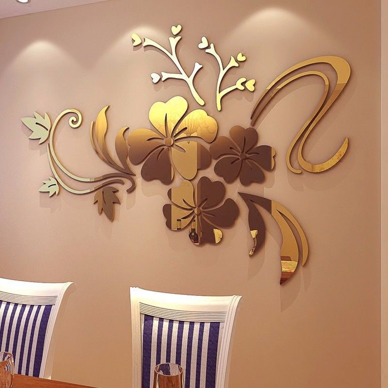 3D Mirror Flower Quote Wall Sticker Acrylic Vinyl Decal Home Room  Decor