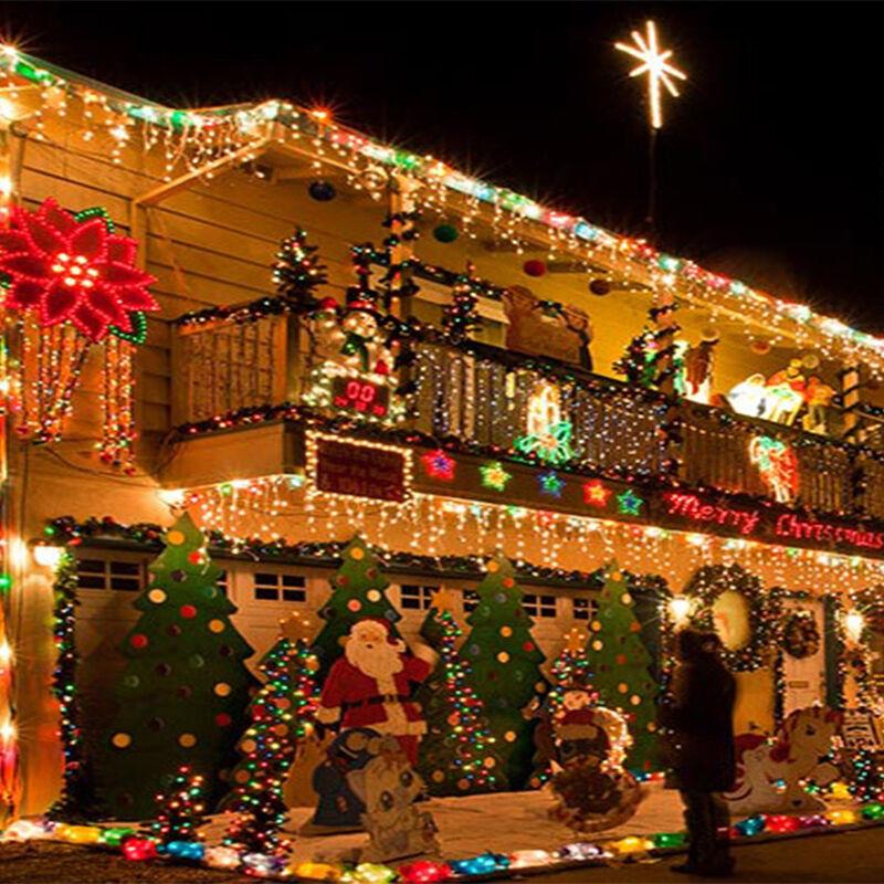 3 5m lichtervorhang eiszapfen lichterkette au en innen for Lichtervorhang weihnachten