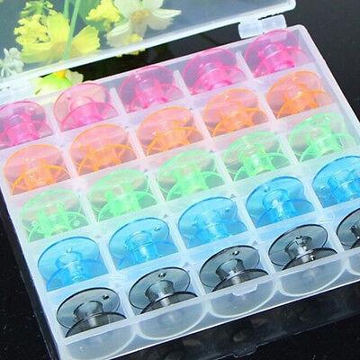 25Pcs Plastic Sewing Machine Empty Bobbin Case in Storage Box for Brother XZ