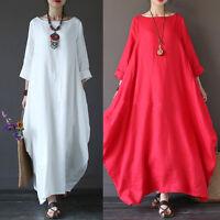 Cómodo L-5xl Talla Grande Holgado Informal Vestido Largo Caftán Camisas Mujer -  - ebay.es