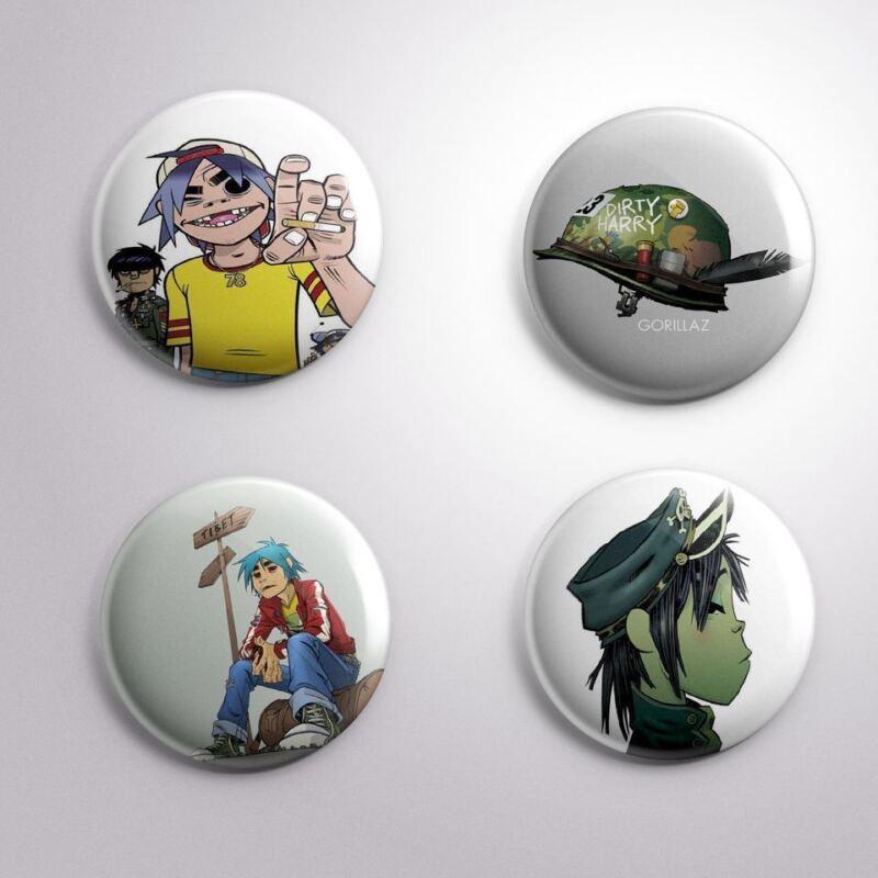4 GORILLAZ -  Pinbacks Badge Button 25mm 1