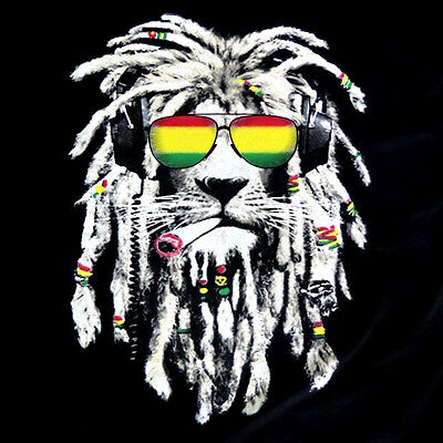 Rasta Lion Reggae Smoke Blunt Marijuana Weed Mens 100  Cotton Black T Shirt Tee