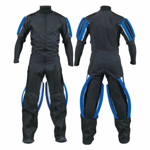 Skydiving jumpsuit Skydrive gripper suit with blue grippers.