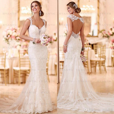 Sexy Open Back Lace Mermaid Wedding Dresses 2019 Bride Dress Beach Wedding Gowns for sale  Shipping to Canada